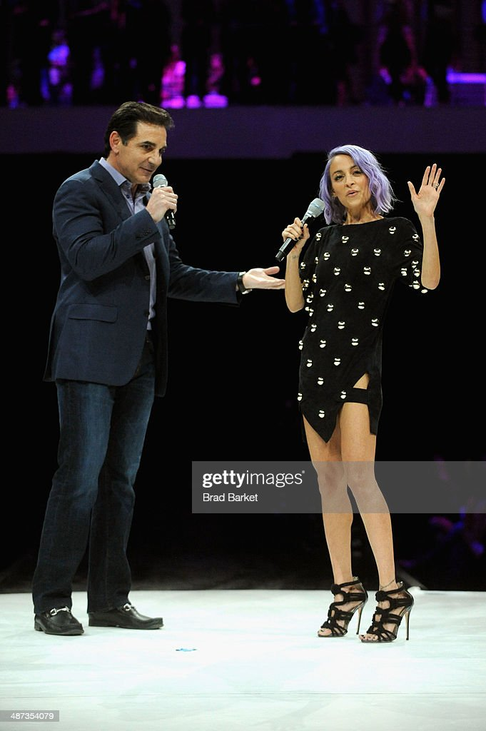 Platforms Bob Lord and <a gi-track='captionPersonalityLinkClicked' href=/galleries/search?phrase=Nicole+Richie&family=editorial&specificpeople=201646 ng-click='$event.stopPropagation()'>Nicole Richie</a> speak onstage at the 2014 AOL NewFronts at Duggal Greenhouse on April 29, 2014 in New York, New York.
