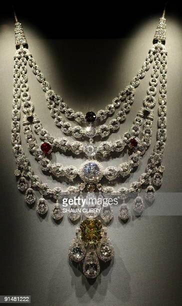 A Platinum Diamond Ruby and Topaz Cartier necklace from Paris dated 1928 is pictured during a photocall for the 'Maharaja The Splendour of India's...