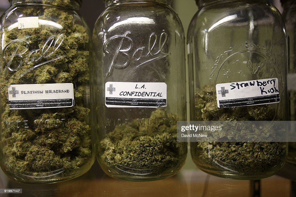 Platinum Headband, L.A. Confidential and Strawberry Kush are among several types of marijuana on display at Private Organic Therapy (P.O.T.), a non-profit co-operative medical marijuana dispensary, on October 19, 2009 in Los Angeles, California. Attorney General Eric Holder announced new guidelines today for federal prosecutors in states where the use of marijuana for medicinal purposes is allowed under state law. Federal prosecutors will no longer trump the state with raids on the southern California dispensaries as they had been doing, but Los Angeles County District Attorney Steve Cooley recently began a crackdown campaign that will include raids against the facilities. Cooley maintains that virtually all marijuana dispensaries are in violation of the law because they profit from their product. The city of LA has been slow to come to agreement on how to regulate its 800 to 1,000 dispensaries. Californians voted to allow sick people with referrals from doctors to consume cannabis with the passage of state ballot Proposition 215 in 1996 and a total of 14 states now allow the medicinal use of marijuana.