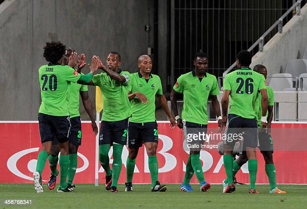 Platinum Stars celebrating a goal during the Absa Premiership match between Ajax Cape Town and Platinum Stars at Cape Town Stadium on December 21...