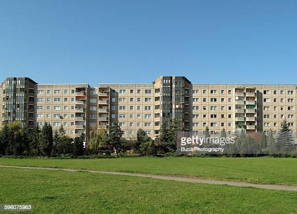 Plattanbau housing buildings in East Berlin