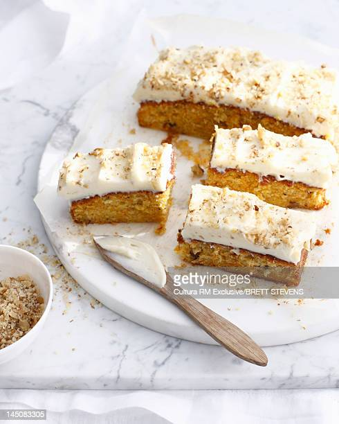 Platter of frosted carrot cake