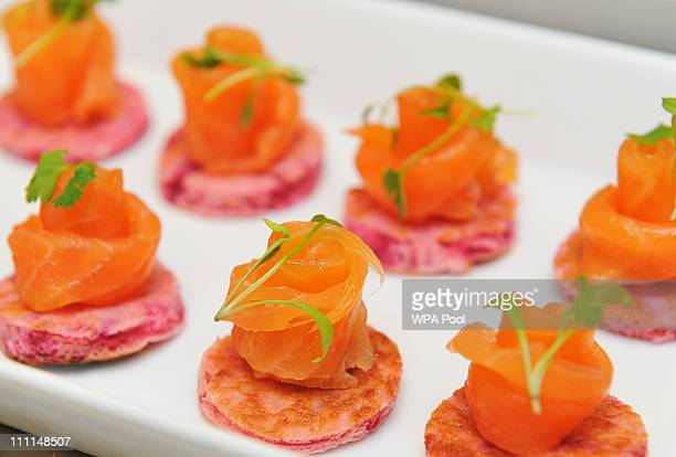 A platter of salmon canapes food akin to that which is usually served at royal receptions held at at Buckingham Palace on March 25 2011 in London...