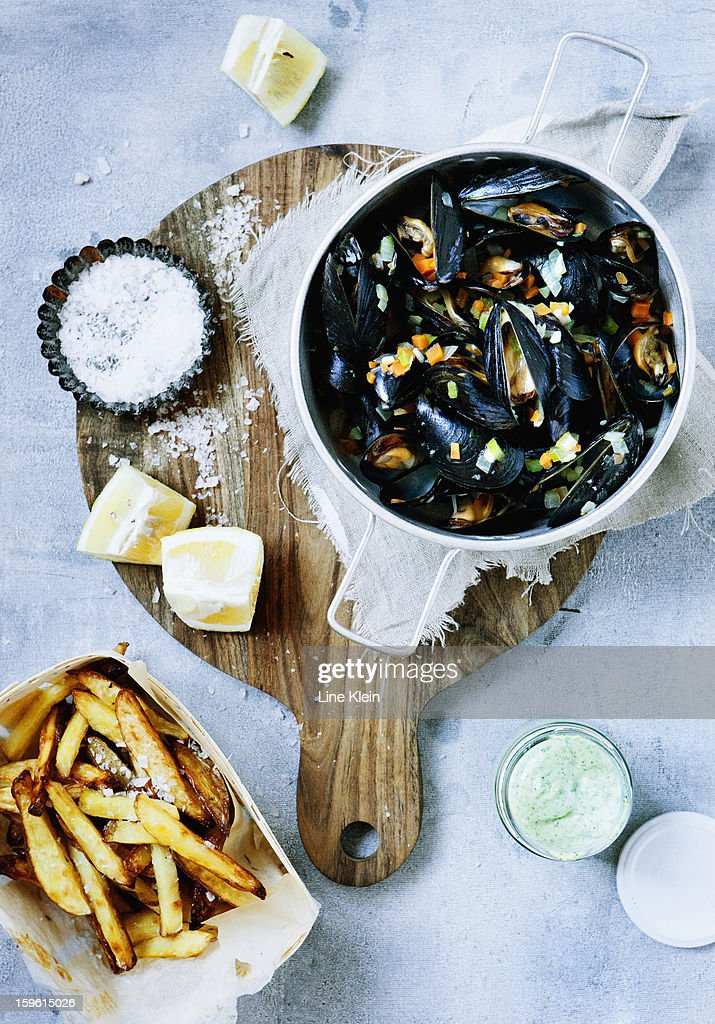 Platter of steamed mussels and fries
