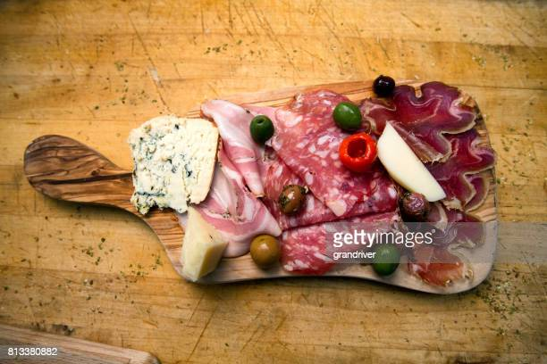 Platter with Ham, Salami and Prosciutto and Cheese