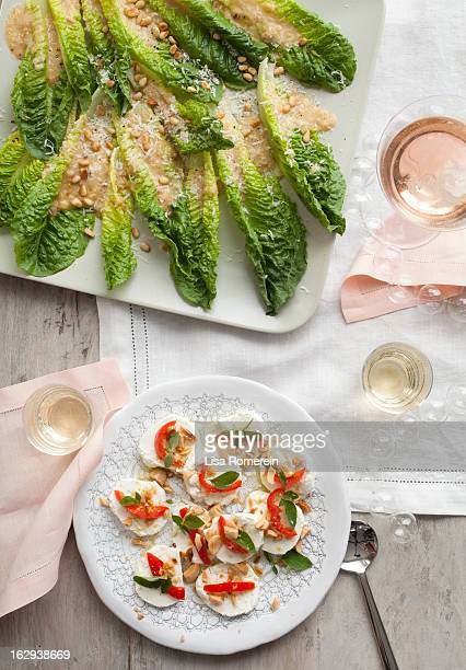 Platters with lettuce & goat cheese hors d'oeuvres