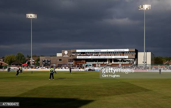 Play gets under way during the Natwest T20 Blast match between Derbyshire Falcons and Leicestershire Foxes at the 3aaa County Ground on June 18 2015...