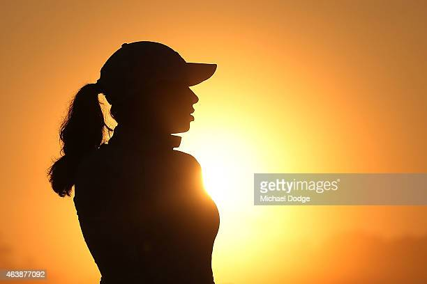 Play is delayed for 20 minutes as Cheyenne Woods of the USA practices in heavy fog during day two of the LPGA Australian Open at Royal Melbourne Golf...