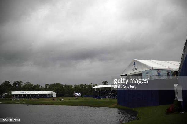 Play is suspended due to inclement weather during the final round of the Zurich Classic at TPC Louisiana on April 30 2017 in Avondale Louisiana