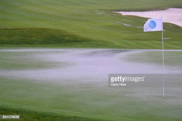 Play is suspended during Round One of the ATT Pebble Beach ProAm due to inclement weather at Pebble Beach Golf Links on February 9 2017 in Pebble...