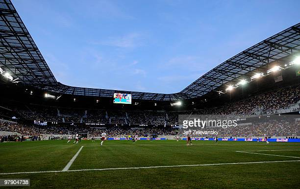 Play is underway during a match between the New York Red Bulls and Santos FC at the first match to be played at Red Bull Arena on March 20 2010 in...