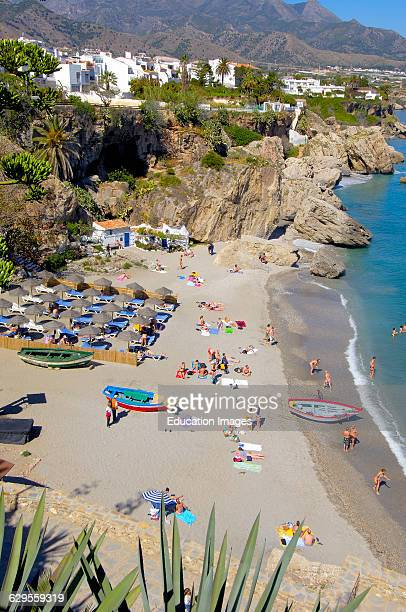 Playa Calahonda view from Balcon de Europa Nerja Costa del Sol Malaga province Andalusia Spain