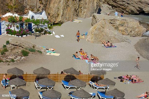 Playa de Calahonda view from Balcon de Europa Nerja Costa del Sol Malaga province Andalusia Spain