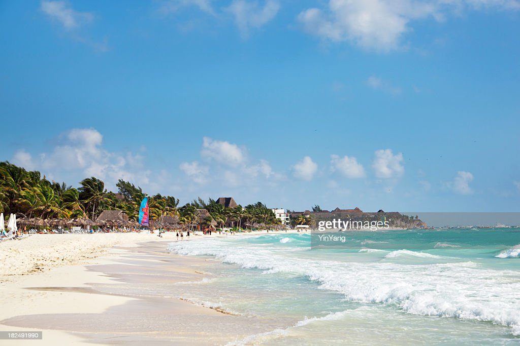 Playa Del Carmen Caribbean Beach on Mayan Riviera, Cancun, Mexico