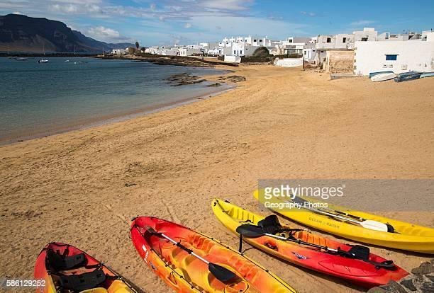 Playa La Laja sandy beach Caleta de Sebo village La Isla Graciosa Lanzarote Canary Islands Spain