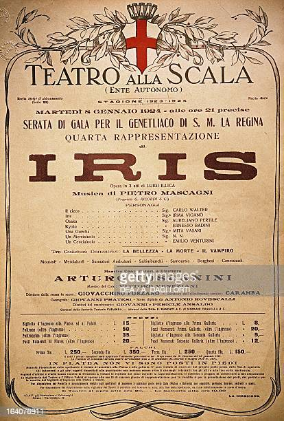 Playbill for the opera Iris by Pietro Mascagni conducted by Arturo Toscanini at La Scala Theatre in Milan January 8 1924 Leghorn Museo Mascagni