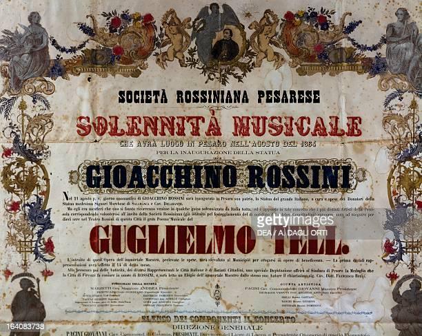 Playbill of the William Tell opera by Gioachino Rossini Pesaro Casa Rossini