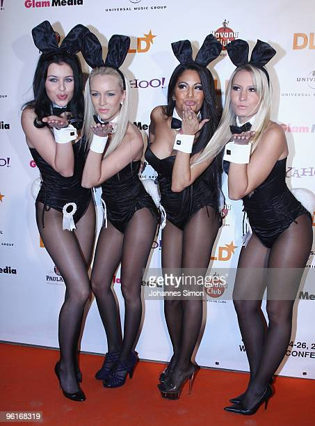 Playboy bunnies arrive for the DLD Starnight at Haus der Kunst on January 25 2010 in Munich Germany