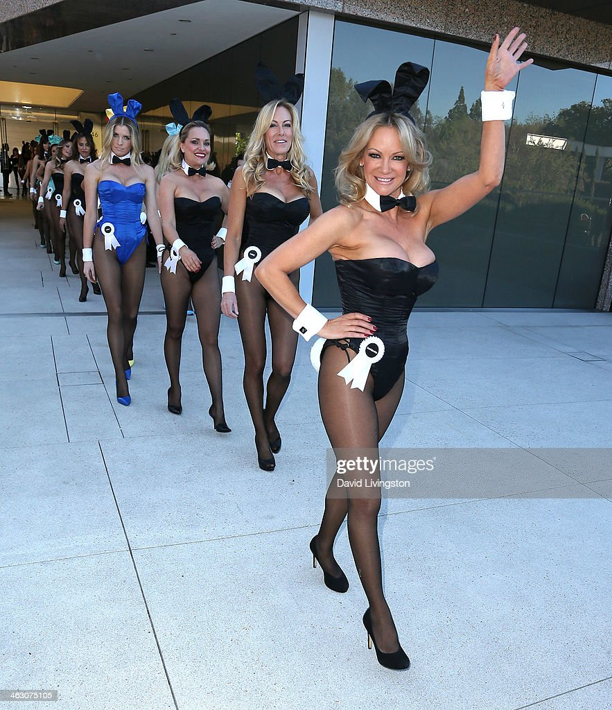 Playboy Bunnies attend Playboy celebratings it's 60th anniversary with a 60 Bunnies Bus Tour at Playboy World Headquarters on January 16 2014 in...
