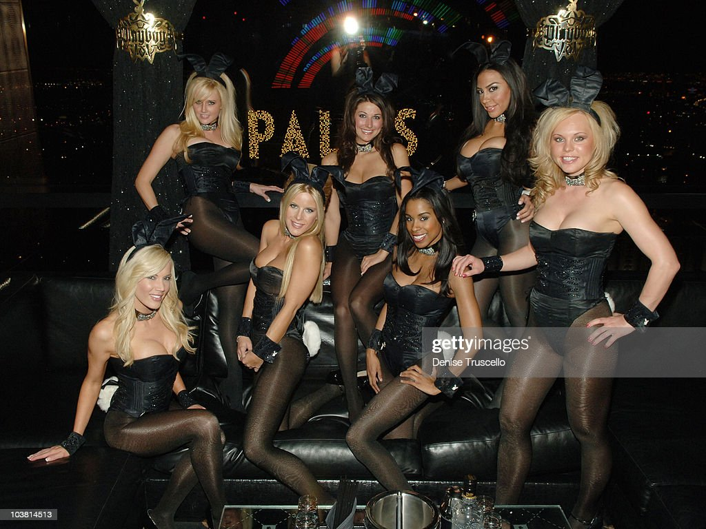Playboy Bunnies Denise Pernula Patty McNeil Lindsey Roeper Kristy Newman Chandella Powell Taina Brito and Charity Mays pose for photos at The Playboy...