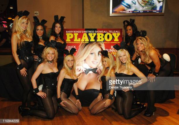 Playboy Bunnies pose for photos at an autograph signing at The Palms Casino Resort on October 14 2007 in Las Vegas Nevada