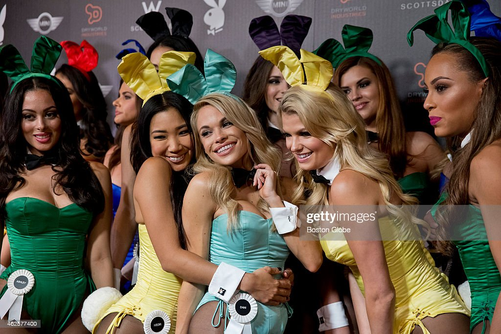 Playboy Bunnies pose on the red carpet at the Playboy Party at the W Scottsdale on January 30 2015