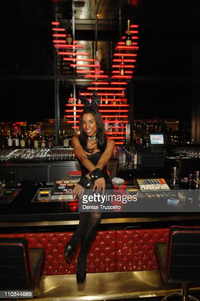 Playboy Bunny Chandella Powell poses for photos at The Playboy Club at The Palms Casino Resort on October 14 2007 in Las Vegas Nevada