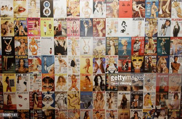Playboy covers are seen on display at the 'Playboy Exposed' Private View at the Sony Ericsson Proud Camden on October 19 2005 in London England The...