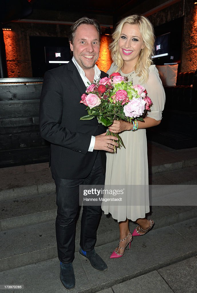 Playboy editor in chief Florian Boitin and Verena Kerth attend the Verena Kerth birthday party at P1 on July 18, 2013 in Munich, Germany. Kerth also celebrated the release of the new Playboy issue with her on the cover.