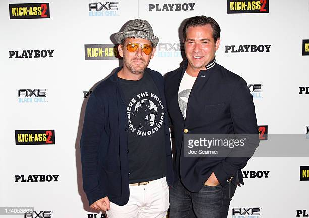 Playboy Editorial Director Jimmy Jellinek and Playboy Publisher John Lumpkin arrive at the Playboy and Universal Pictures' 'KickAss 2' event at...