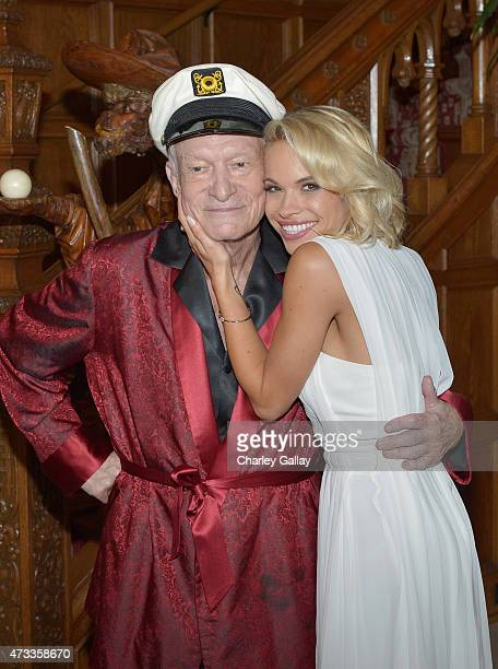 Playboy Founder and EditorinChief Hugh M Hefner poses with 2015 Playmate of the Year Dani Mathers during Playboy's 2015 Playmate of the Year Ceremony...