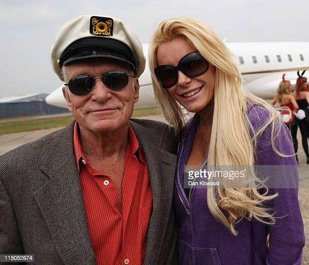 Playboy founder Hugh Hefner and his fiance Crystal Harris arrives at Stansted Airport on June 2 2011 in Stansted England Mr Hefner is back in the UK...