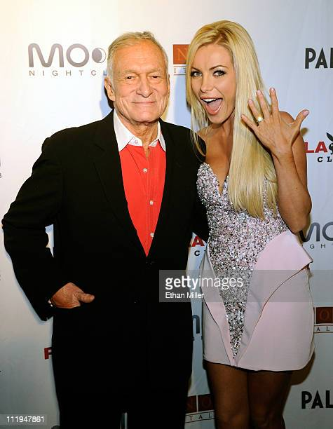Playboy founder Hugh Hefner and his fiancee Crystal Harris celebrate Hefner's 85th birthday at the Palms Casino Resort April 9 2011 in Las Vegas...