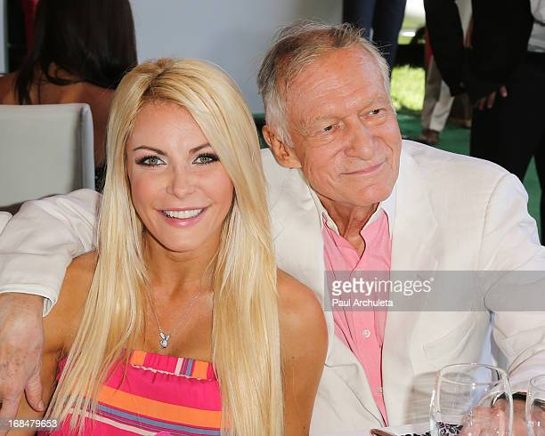 Playboy Founder Hugh Hefner and his wife Playboy Playmate Crystal Hefner attend the 2013 Playmate Of The Year announcement at The Playboy Mansion on...