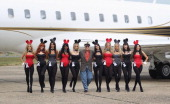 Playboy founder Hugh Hefner arrives at Stansted Airport on June 2 2011 in Stansted England The photograph is a recreation of a picture originally...