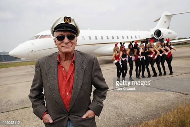 Playboy founder Hugh Hefner arrives at Stansted Airport on June 2 2011 in Stansted England Mr Hefner is back in the UK to mark the launch of the new...