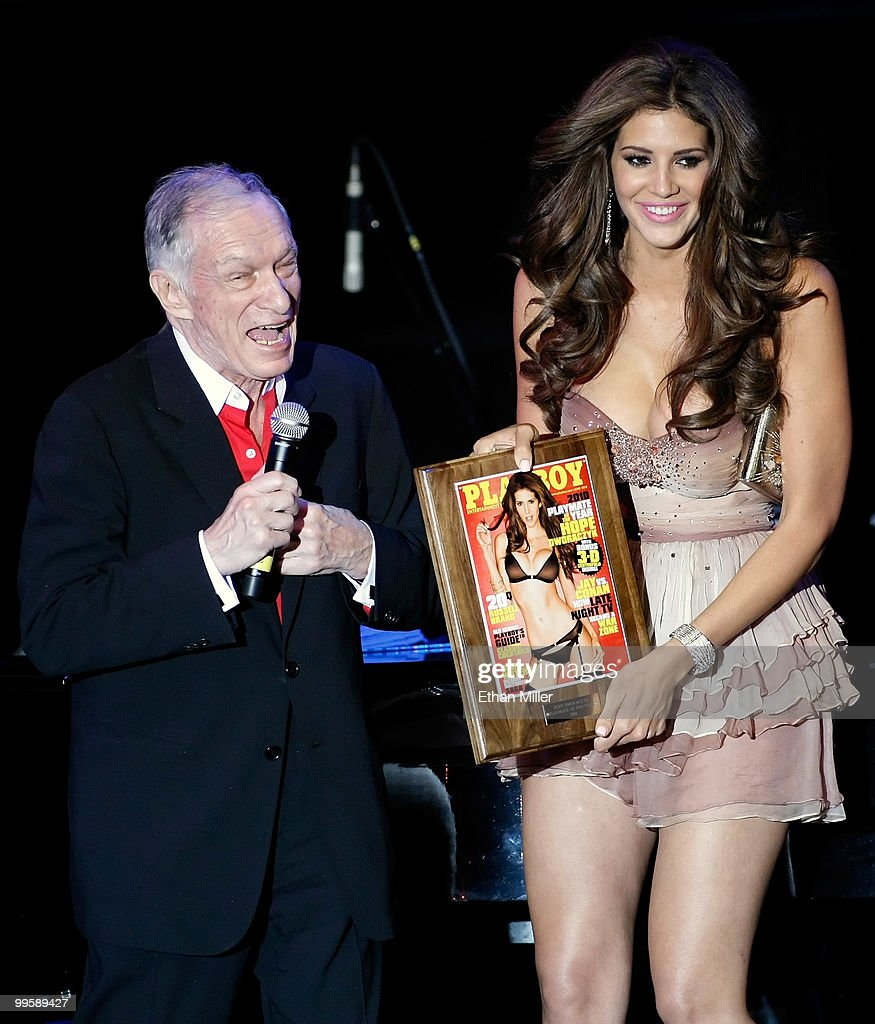 Playboy founder <a gi-track='captionPersonalityLinkClicked' href=/galleries/search?phrase=Hugh+Hefner&family=editorial&specificpeople=202106 ng-click='$event.stopPropagation()'>Hugh Hefner</a> (L) introduces model Hope Dworaczyk as the 2010 Playboy Playmate of the Year at the Rain Nightclub inside the Palms Casino Resort May 15, 2010 in Las Vegas, Nevada.