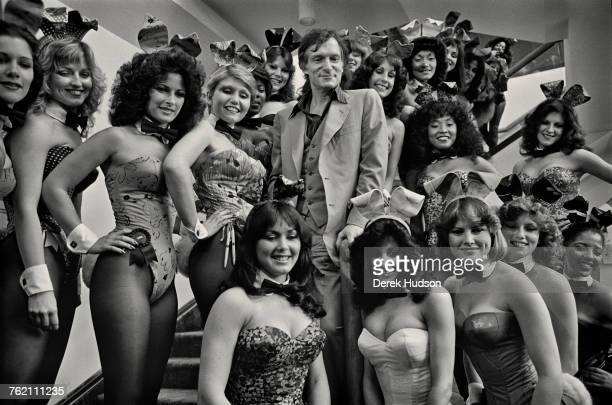 Playboy impresario Hugh Hefner with a group of Playboy Bunnies at the Grand Opening of the Playboy HotelCasino in Atlantic City New Jersey USA...