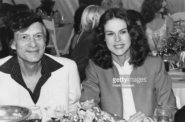Playboy impresario Hugh Hefner with his daughter Christie Hefner at the 'Playmate of the Year' luncheon at the Playboy Mansion West Los Angeles...