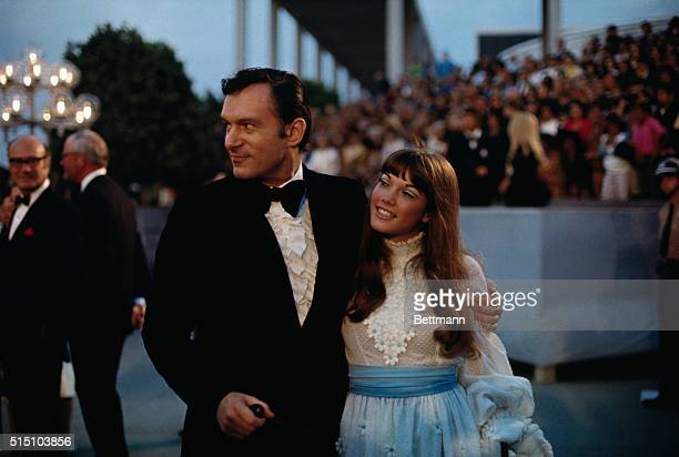 Playboy magazine editor Hugh Hefner is accompanied by Barbi Benton at the 1970 Academy Awards