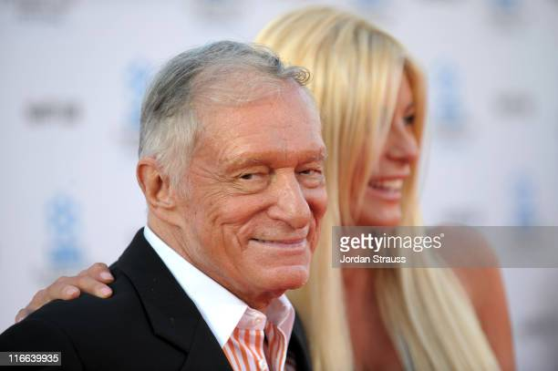 Playboy Magazine founder Hugh Hefner and fiance Crystal Harris arrive at Day 1 of TCM Classic Film Festival 2011 at Grauman's Chinese Theatre on...