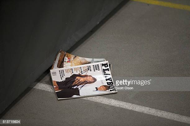 Playboy magazine with a picture of Republican presidential candidate Donald Trump sits on the floor after it was signed by Trump but failed to reach...