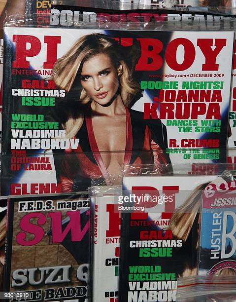 Playboy magazines are displayed on a news stand in New York US on Thursday Nov 12 2009 Playboy Enterprises Inc the men's magazine publisher is in...