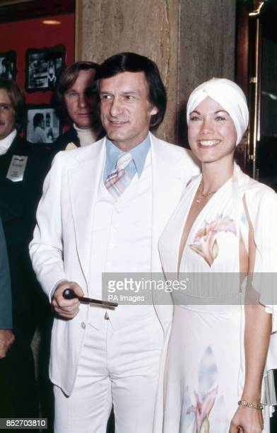Playboy manager Hugh Hefner with girlfriend Barbie Benton at the premiere for 'Lenny' PLAYBOY MANAGER HUGH HEFNER AND GIRLFRIEND BARBIE