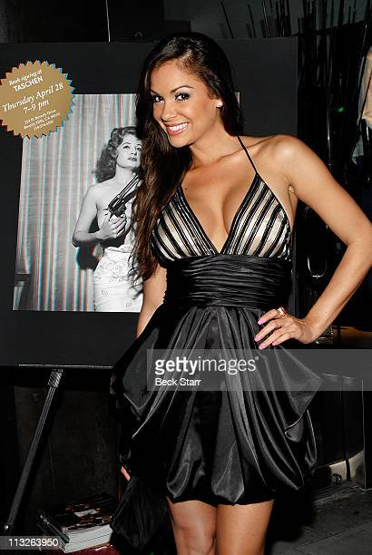 Playboy model Bambi Lashell arrives at the Taschen and Playboy launch of 'The Big Book Of Breasts 3D' at Taschen on April 28 2011 in Beverly Hills...
