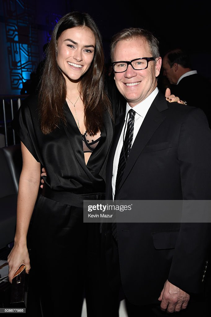 Playboy model Myla Dalbesio (L) and CEO of Playboy Enterprises, Inc. Scott Flanders attend The Playboy Party during Super Bowl Weekend, which celebrated the future of Playboy and its newly redesigned magazine in a transformed space within Lot A of AT&T Park on February 5, 2016 in San Francisco, California.
