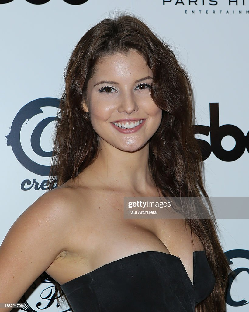 Playboy Playmate Amanda Cerny arrives for the release party for Paris Hilton's new single 'Good Time' featuring Lil Wayne at on October 8, 2013 in Hollywood, California.