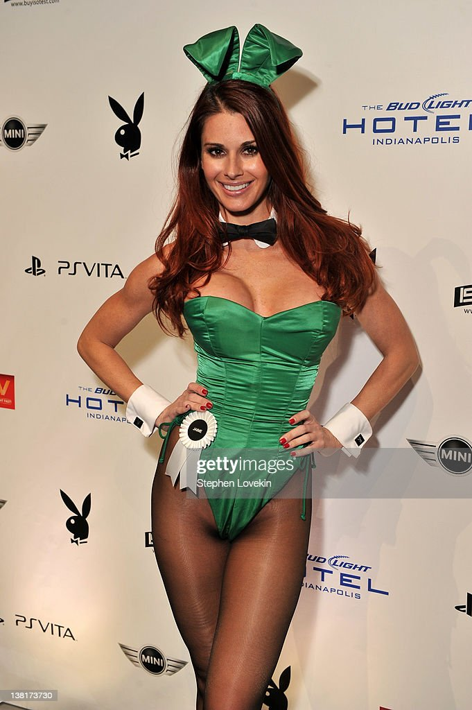 Playboy Playmate Jaime Edmondsson attends the 2012 Playboy Party hosted by Bud Light Hotel at Bud Light Hotel on February 3 2012 in Indianapolis...