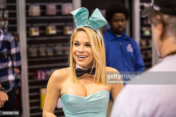 Playboy Playmate of the Year 2015 Dani Mathers appears at NAMM Show Day 2 at Anaheim Convention Center on January 22 2016 in Anaheim California