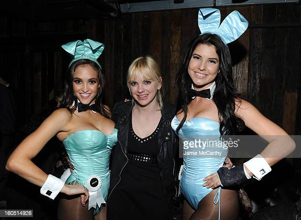 2012 Playboy Playmate of the Year Jaclyn Swedberg actress Anna Faris and a Playboy Playmate attend The Playboy Party Presented by Crown Royal on...